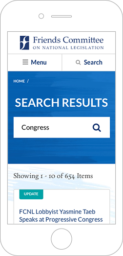 Screenshot of the FCNL search page on mobile.