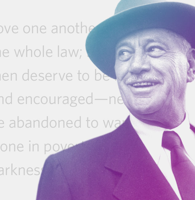 Image of Conrad Hilton overlaid on text