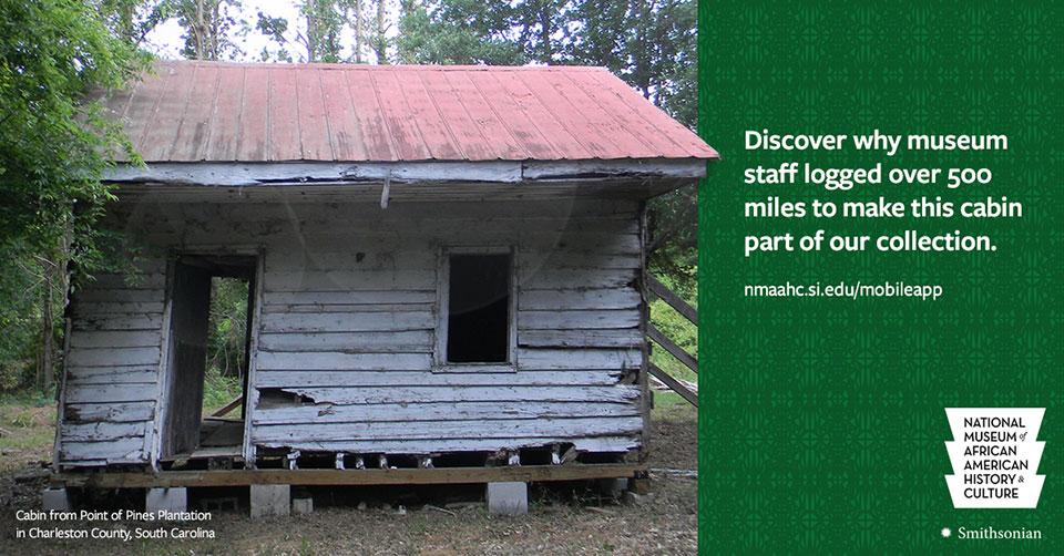 Social media promo image of a plantation-era cabin