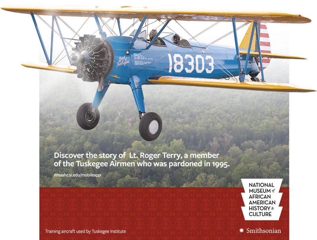 Promotional image for a story on Tuskegee Airman, Lt. Rodger Terry, showing a biplane flying over trees