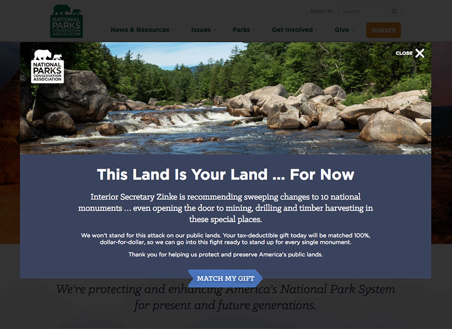 "Screenshot of a donation prompt that reads, ""Double your impact for our national parks! Donate now."""