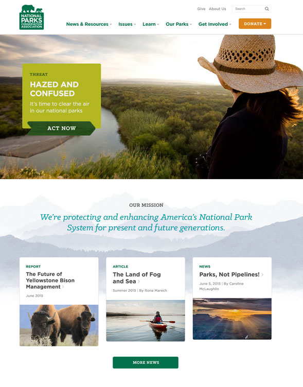 Screenshots of NPCA's homepage