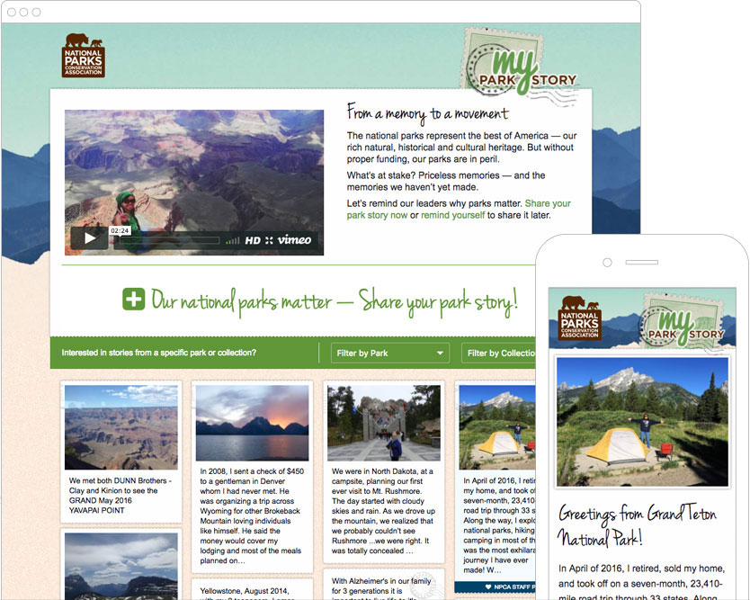 Screenshot of the NPCA My Park Story website homepage