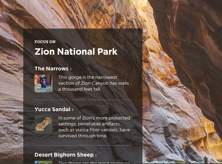 Screenshot of page showing articles related to Zion National Park