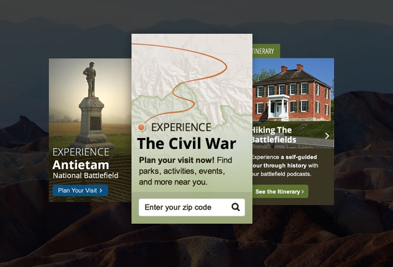 Screenshots of website promos related to the Civil War