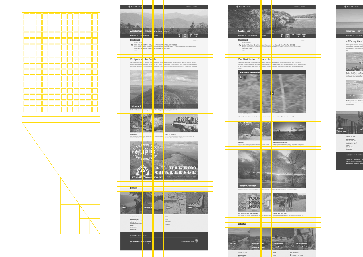 Full-page screenshots with grid overlaid on top