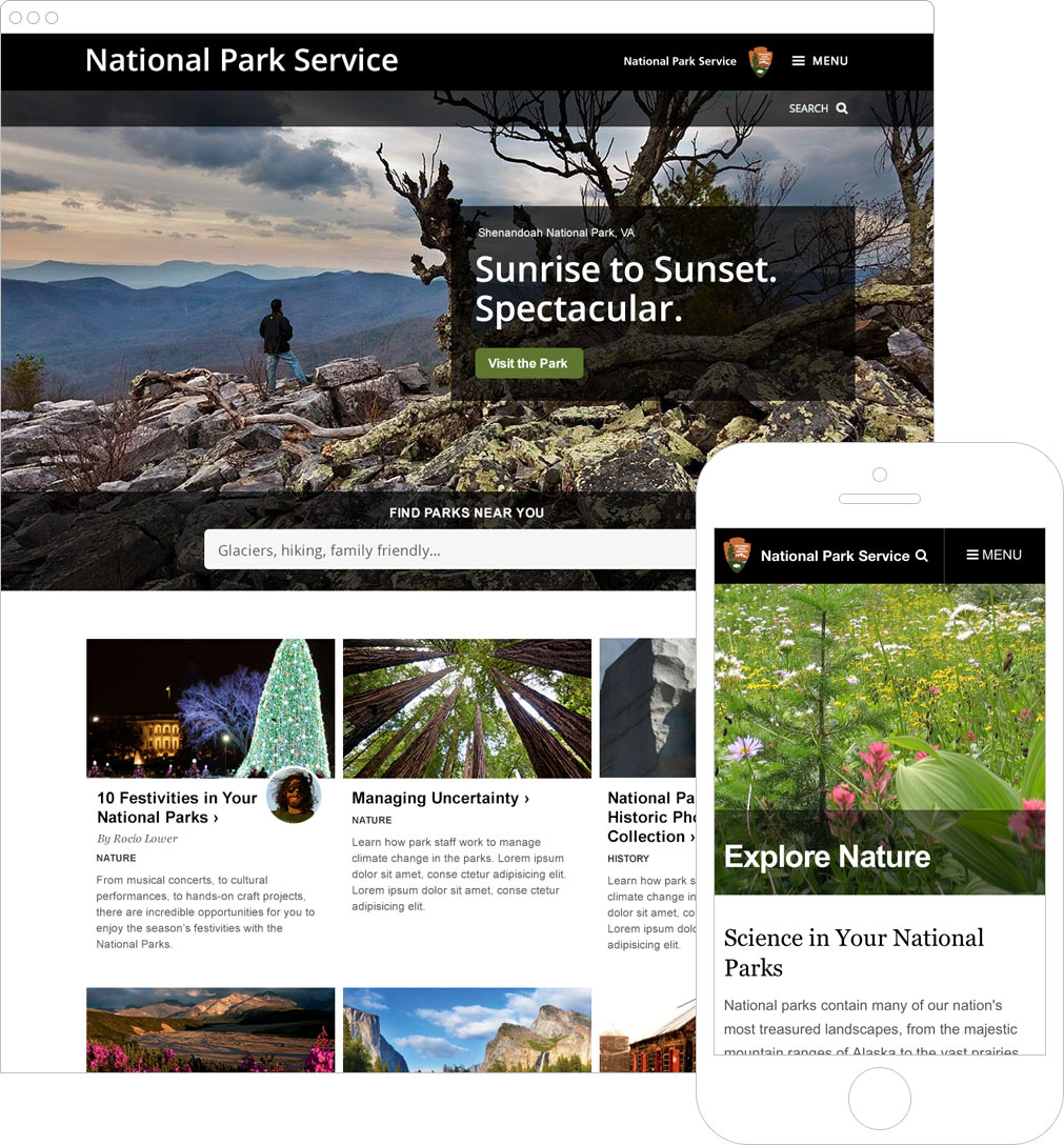 Screenshots of National Park Service website in a browser window and on a mobile phone