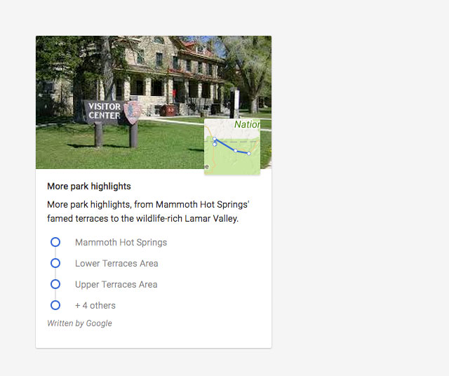 Screenshot of a Google card showing highlights about a national park.