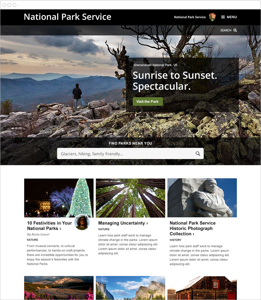 Screenshot of the Park Service's site on a web browser.