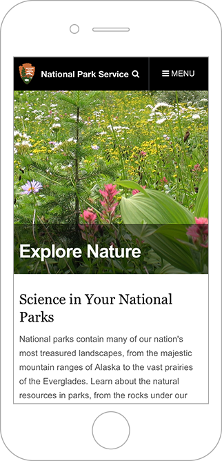 Screenshot of the Park Service's site on a mobile device.