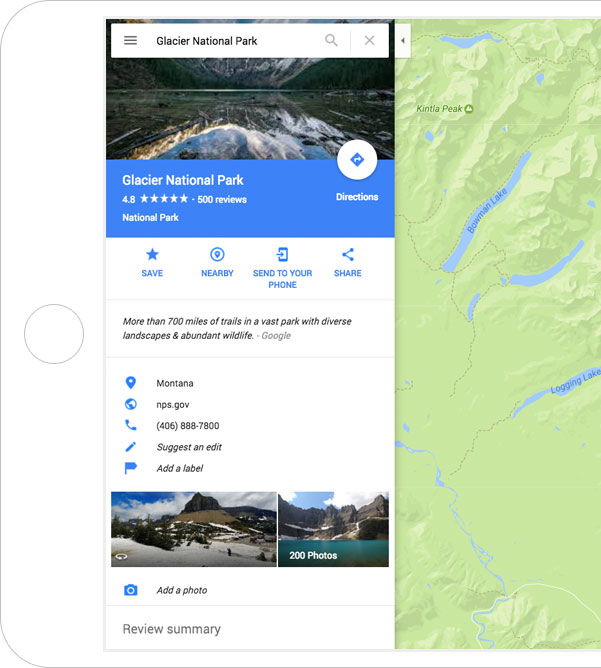 Glacier National Park on Google Maps, shown on a tablet device.
