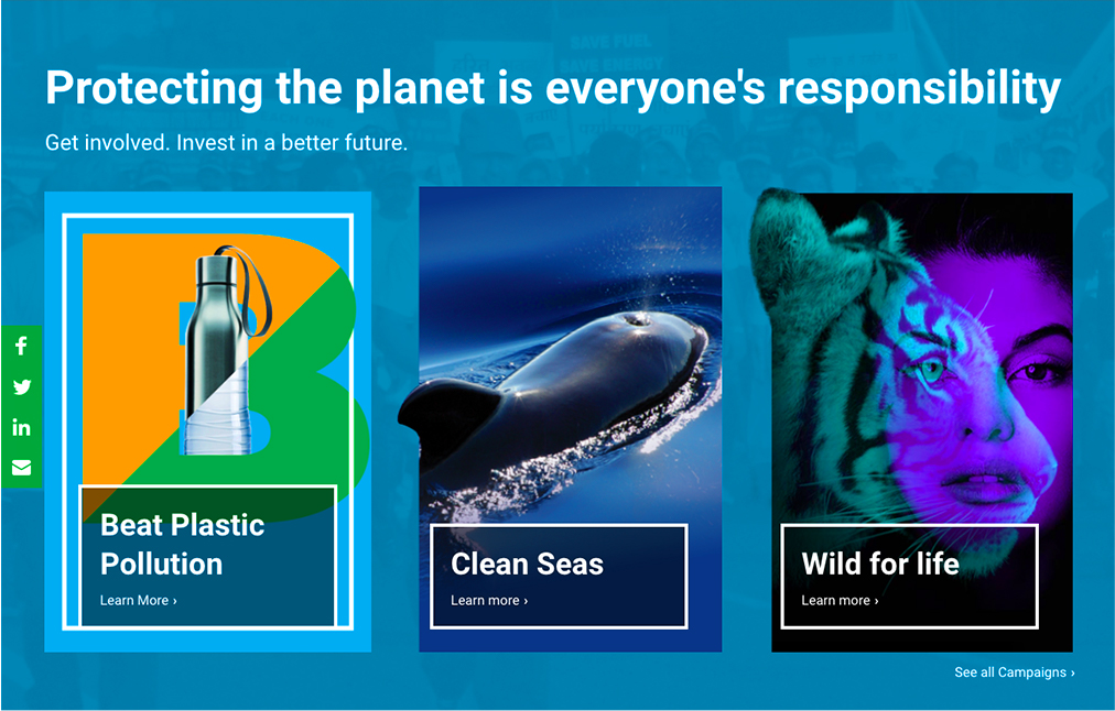 Screenshot of a campaign to protect the planet.