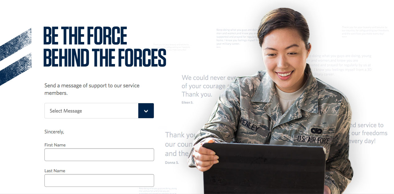 Screenshot of the Be the Force Behind the Forces campaign website