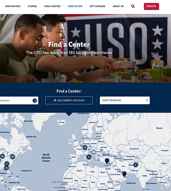 "Screenshots of USO's ""Find A Location"" page"