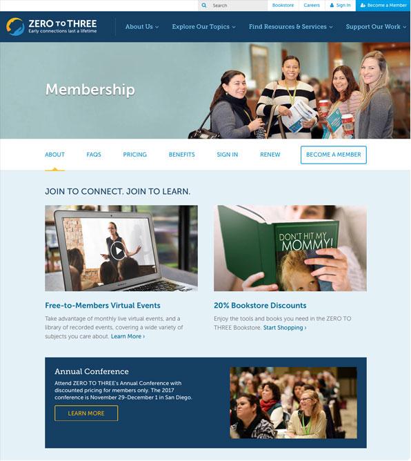 Screenshots of the Membership page